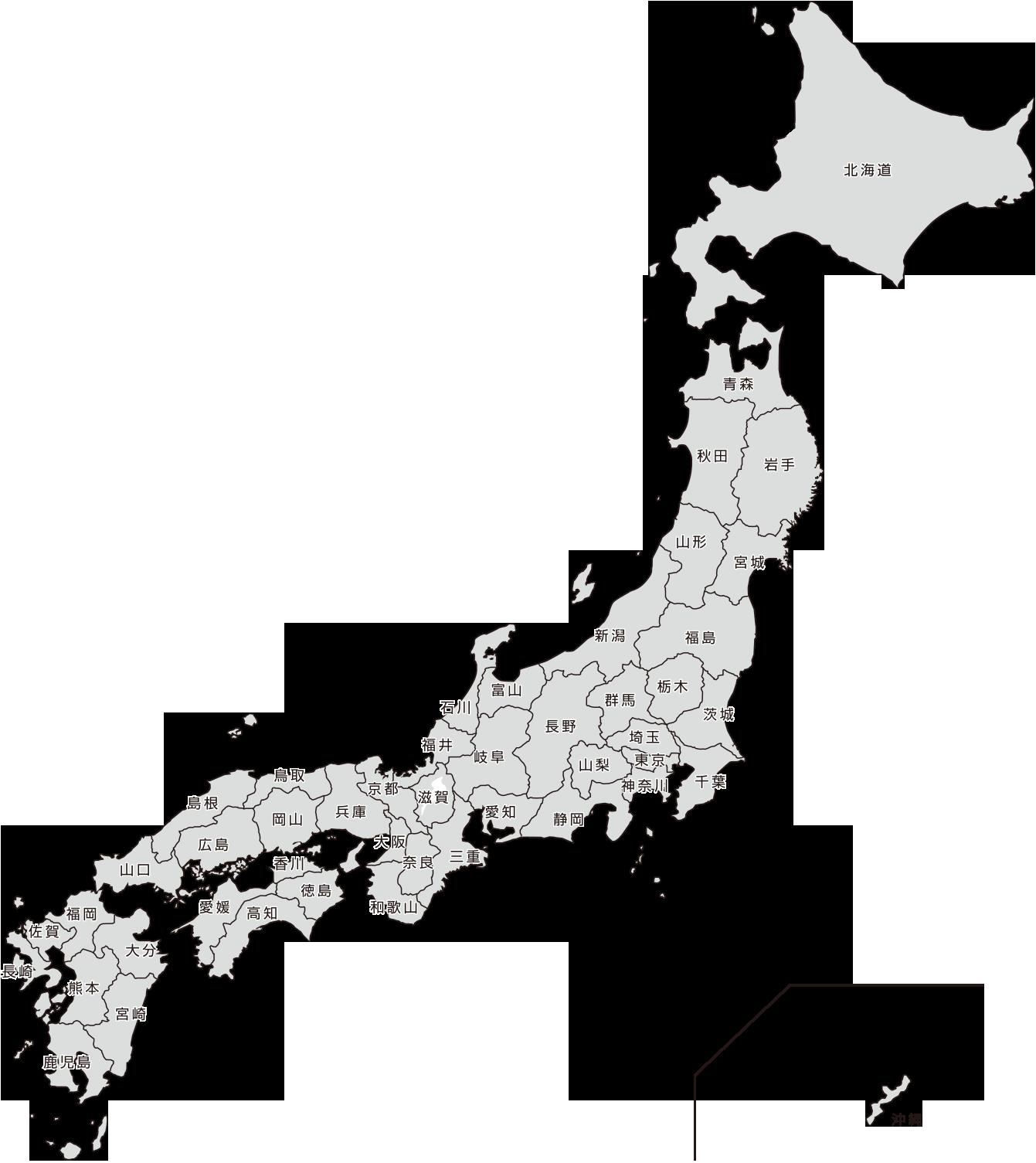 県別表示の日本地図
